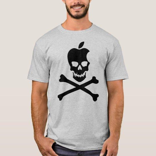 Camiseta NEGRO del cráneo y de la bandera pirata de Apple