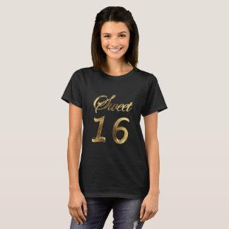 Camiseta Negro del dulce 16 y tipografía de la mirada del
