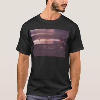 Camiseta Negro del equipo del vinilo del expediente de la