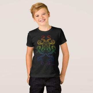 Camiseta Negro gris del arte del pulpo del orgullo náutico