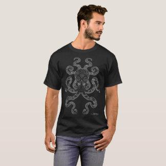 Camiseta Negro gris del océano del pulpo del esquema