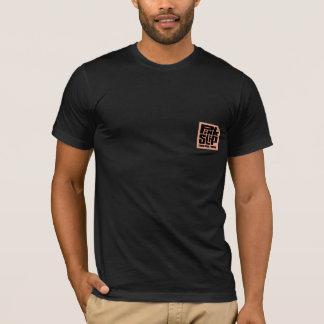 Camiseta Negro WTee de la animación de la hoja rosa