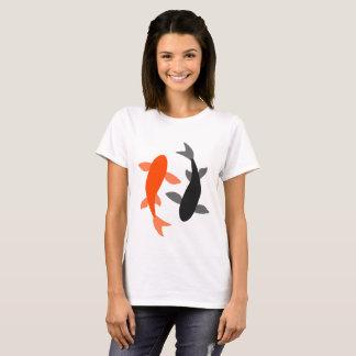 Camiseta Negro y naranja de los pescados del zen