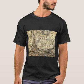 Camiseta noche estrellada de Van Gogh que dibuja el nig