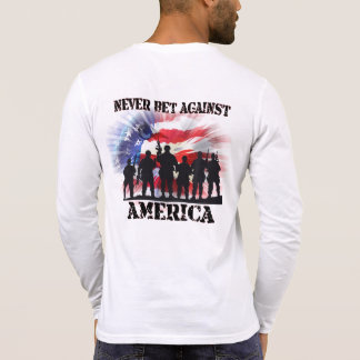 Camiseta Nunca apuesta patriótica fresca contra América