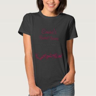 Camiseta nupcial floral de la ducha del negro y