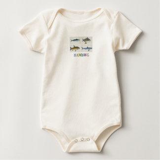 Camiseta orgánica de los cuatro pescados del bebé