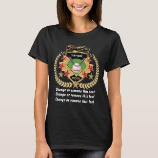 Camiseta Oscuridad Delantera-Detrás del campeón del béisbol