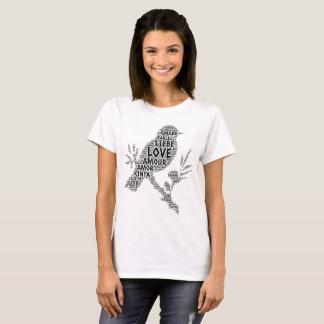 Camiseta Pájaro ilustrado con palabra del amor