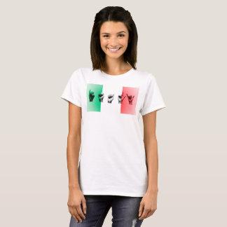 Camiseta Palabra Italia sobre la bandera italiana