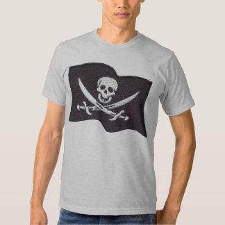Camiseta para hombre cabida gris bordada de la