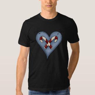 Camiseta para hombre del corazón del bastón de