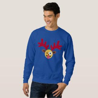 camiseta para hombre del emoji del guiño del reno