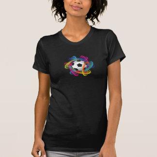 Camiseta para mujer colorida del balón de fútbol