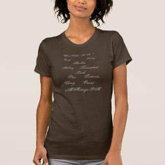 Camiseta para mujer con nombres unisex en frente,