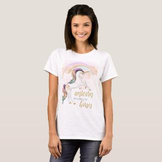 Camiseta para mujer del unicornio del arco iris