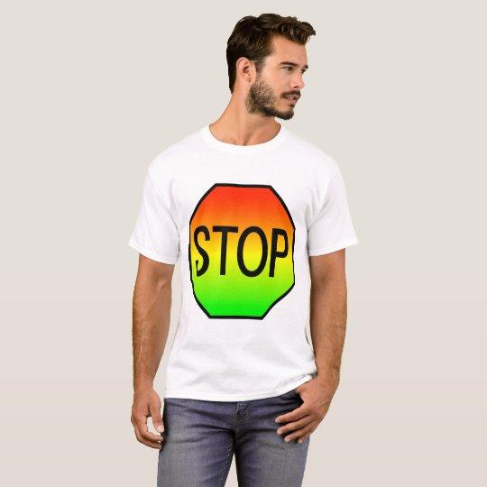 Camiseta Pare la muestra con colores de la luz de parada