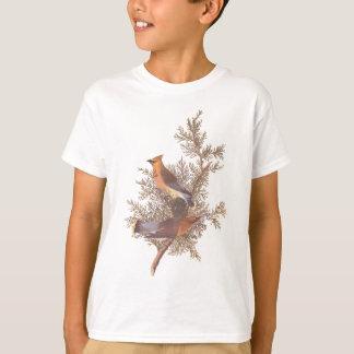 Camiseta Pares del pájaro del Waxwing del cedro de Audubon