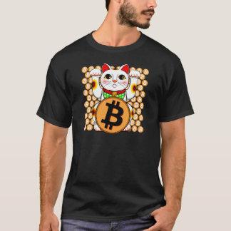 Camiseta Pata doble de Bitcoin del gato afortunado de
