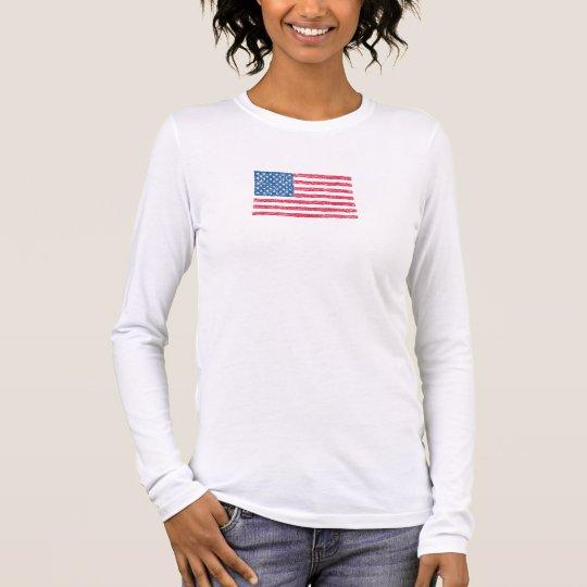 Camiseta patriótica de la bandera del garabato de