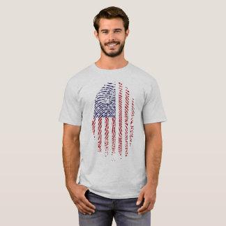 Camiseta patriótica de la huella dactilar de la