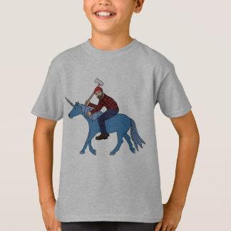 Camiseta Paul Bunyan que monta unicornio azul