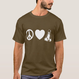 Camiseta Paz, amor, Linux