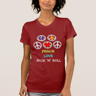 CAMISETA PAZ, AMOR, ROCK-AND-ROLL