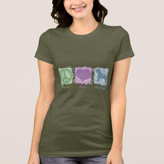 Camiseta Paz, amor, y mastines en colores pastel
