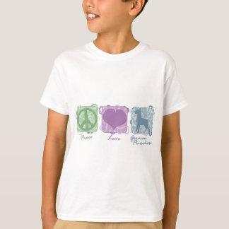 Camiseta Paz en colores pastel, amor, y niño alemán de los