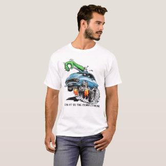 Camiseta ¡Pegúelo a la competencia! Coche de carreras azul