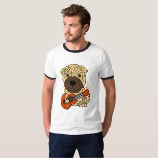 Camiseta Perro de perrito divertido de Shar Pei que toca la