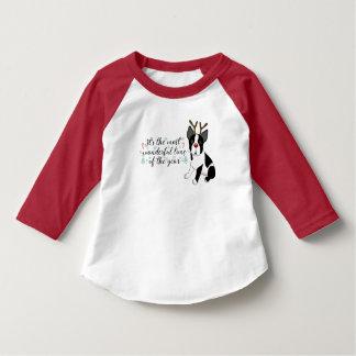 Camiseta Perro del reno de Boston Terrier del navidad