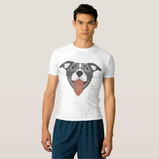 Camiseta Perro Pitbull sonriente del ilustracion