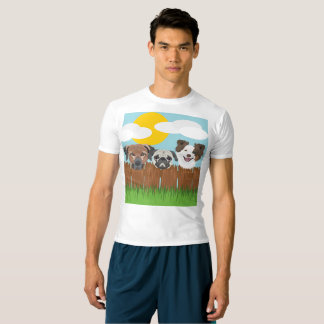Camiseta Perros afortunados del ilustracion en una cerca de