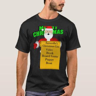 Camiseta Personalice la lista de objetivos de Santa