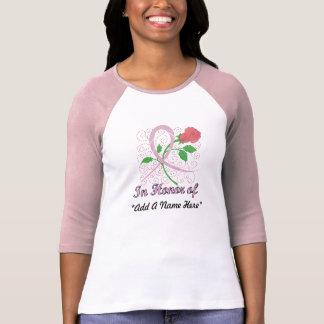 Camiseta Personalizable del cáncer de pecho 3/4 raglán de