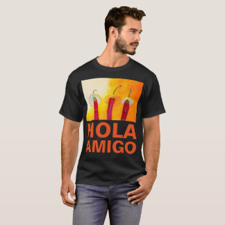 Camiseta Personalizable oscuro divertido del amigo de Hola