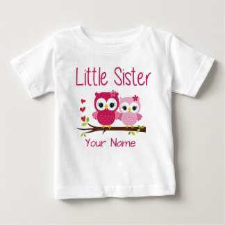 Camiseta personalizada búho del rosa de la pequeña