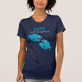 Camiseta Pescados azules de la piraña del texto de encargo