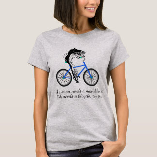 Camiseta Pescados feministas que montan una bicicleta (con