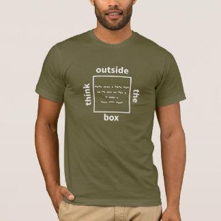 Camiseta Piense fuera de la caja - compruebe dentro de la