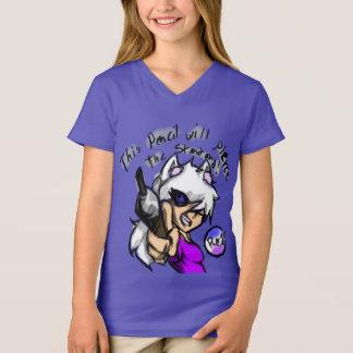 """Camiseta Pierce del chica """""""" el cuello en v estándar"""