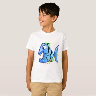 Camiseta Piraña tropical azul con las estrellas