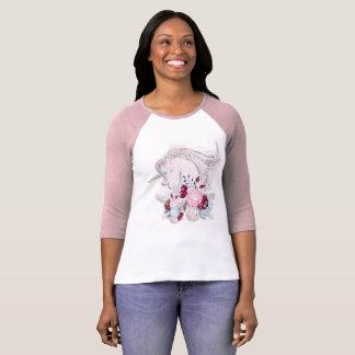 Camiseta Plata bonita del rosa del unicornio de la acuarela