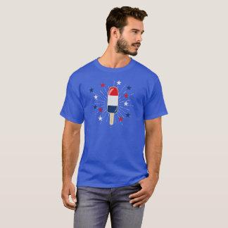 Camiseta Popsicle blanco y azul rojo patriótico con las