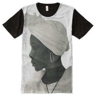 Camiseta Con Estampado Integral Camiseta por todo blanc del chica del negro del