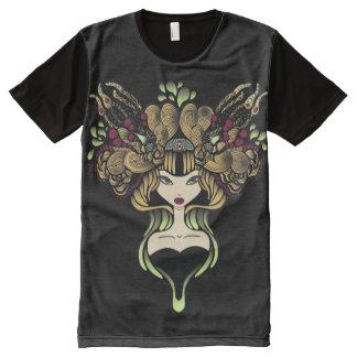 Camiseta Con Estampado Integral Camiseta por todo el negro de Mélusine