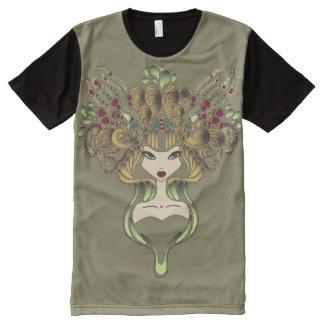 Camiseta Con Estampado Integral Camiseta por todo foncé del caqui de Mélusine