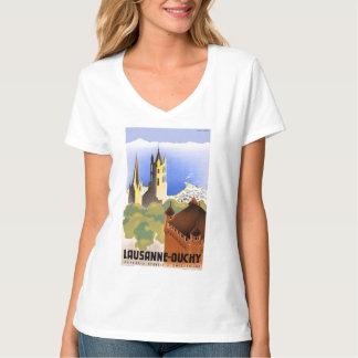 Camiseta Poster del viaje del vintage de Suiza Lausanne